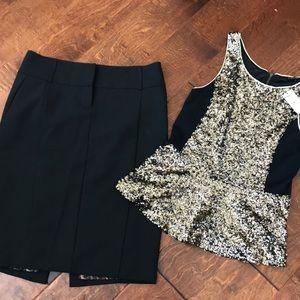Express pencil skirt and peplum top xs